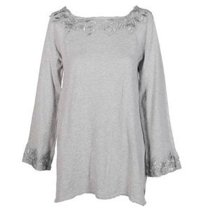 Style & Co Light Grey Lace-Trim Boat Neck Sweater
